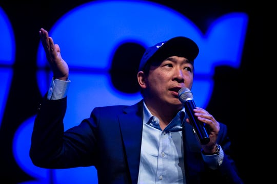 Andrew Yang, entrepreneur and 2020 caucus candidate, gives a speech and answers questions from the audience on Sunday, April 28, 2019, at Franklin Junior High in Des Moines.