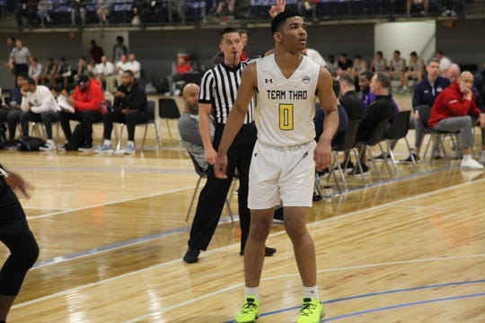 Class of 2020 guard Detrick Reeves watches a shot during the Under Armour Association Session II in Kansas City.