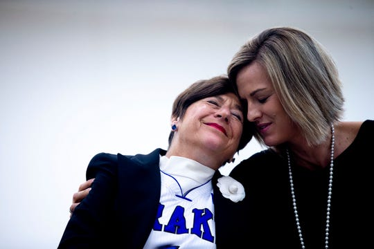 Drake women's basketball coach Jennie Baranczyk embraces Suzie Glazer-Burt, philanthropist and longtime supporter of Drake University, during a ceremony to announce Glazer-Burt's donation of $5 million to the women's basketball program on Monday, April 29, 2019, on the Drake campus in Des Moines. Glazer-Burt's gift is the largest non-capital gift to a women's basketball program in NCAA history.