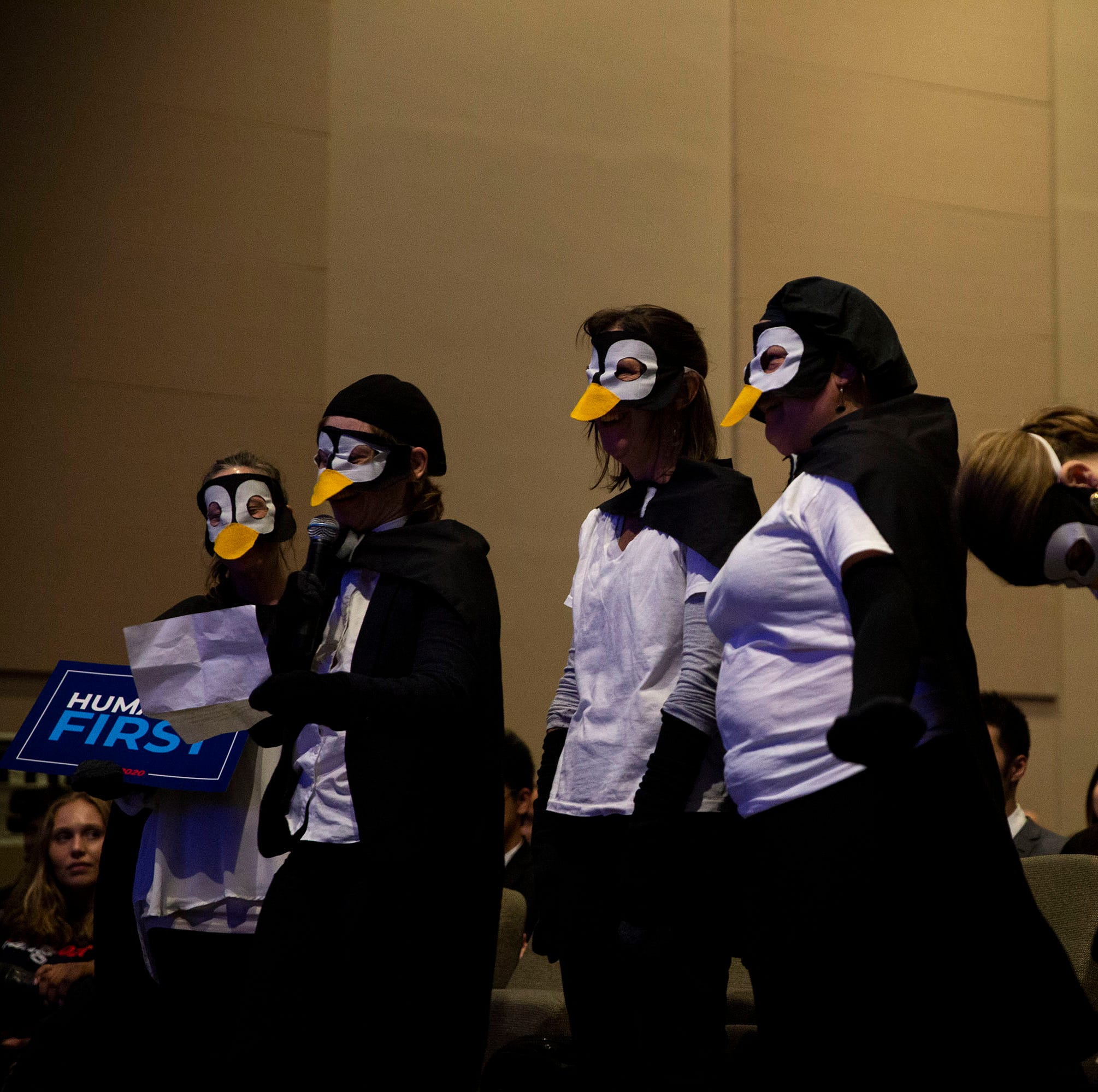 Penguins plus presidential candidate Andrew Yang equals climate change talk