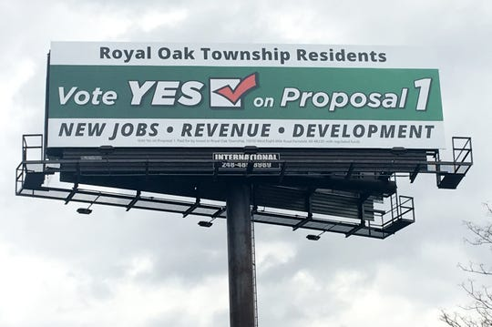 A billboard aimed at Royal Oak Township residents, advocating for a marijuana proposal that is one the May 7 ballot that would override the township board's decision last year to prohibit marijuana businesses from locating in the township. The proposal would allow an unlimited number of marijuana businesses in two targeted areas of the community.