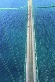 Looking down from the top of the Mackinac Bridge.