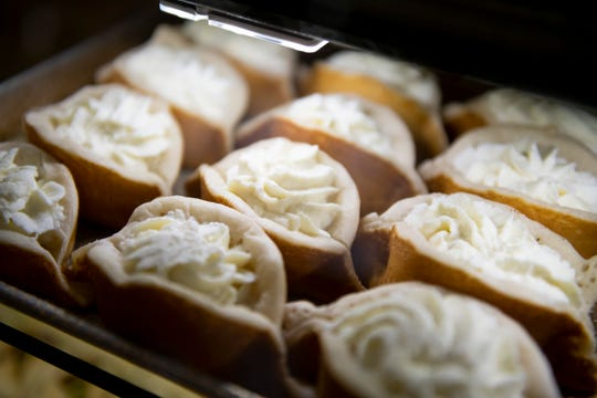 An open faced version of Katayif pastries, filled with kashta cream, is for sale at Shatila Bakery in Dearborn.