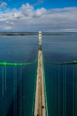 Mackinac Bridge tower tour for social media contest winner Emily Misner and Cord Wilson.