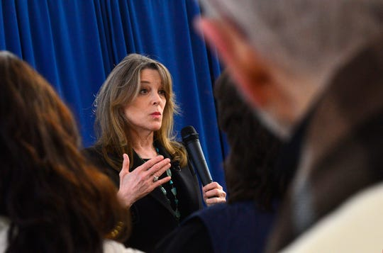 Marianne Williamson, a Democrat from Iowa and presidential candidate, talks about creating a cabinet position to deal with the youth of America during a campaign stop at Keene State College's student union in Keene, N.H.