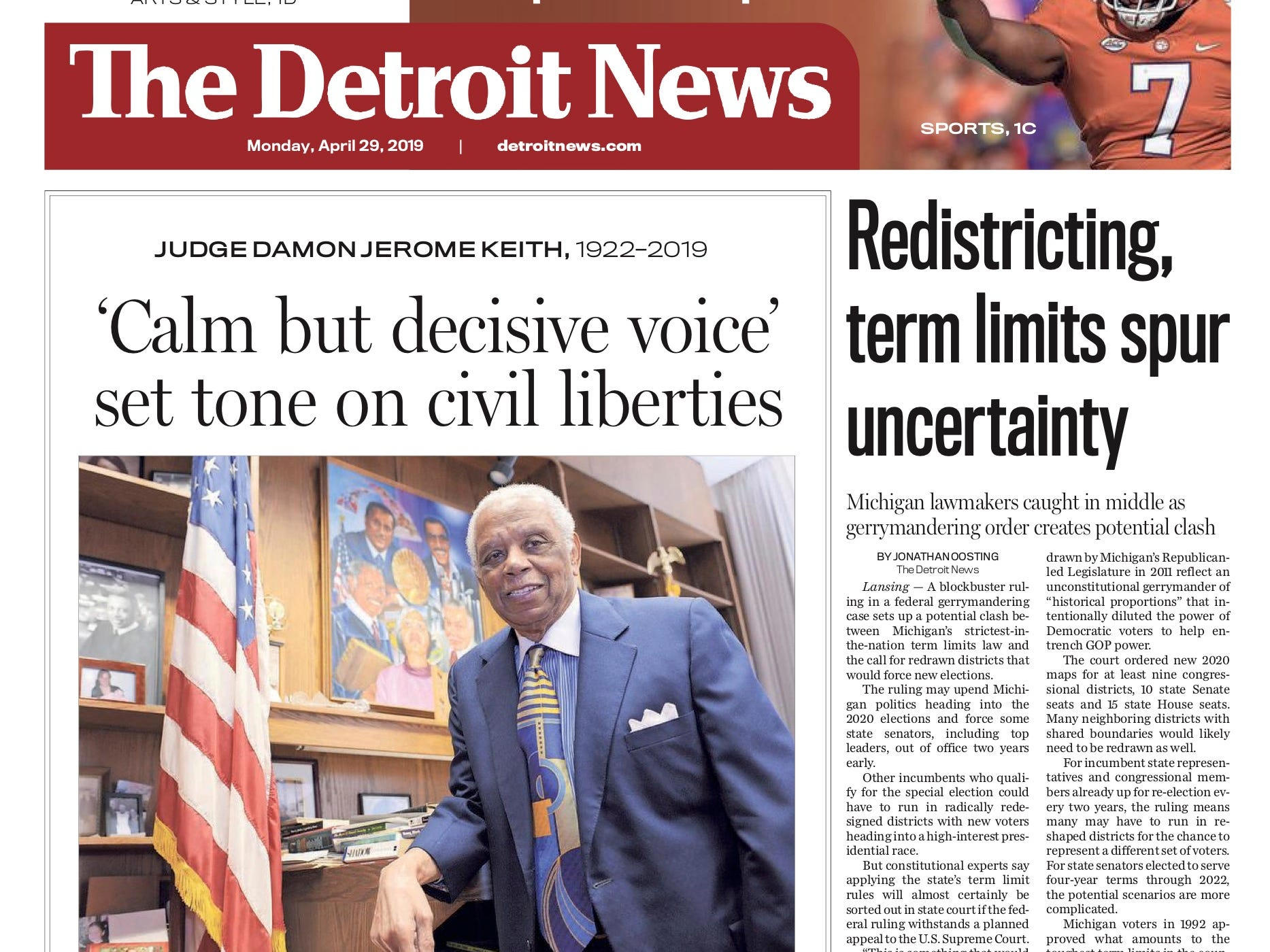 The front page of the Detroit News on April 29, 2019
