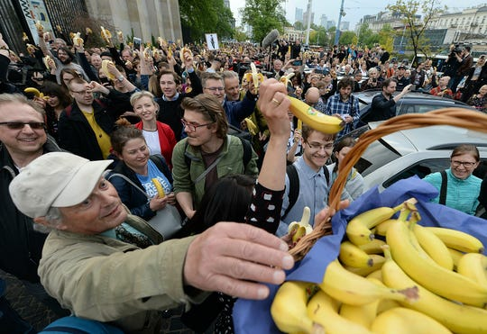 People with bananas demonstrate outside Warsaw's National Museum.