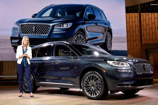 The 2020 Lincoln Corsair is introduced by company president, Joy Falotico, at the New York auto show. The Corsair is the first vehicle in the premium class to offer a smartphone key app.