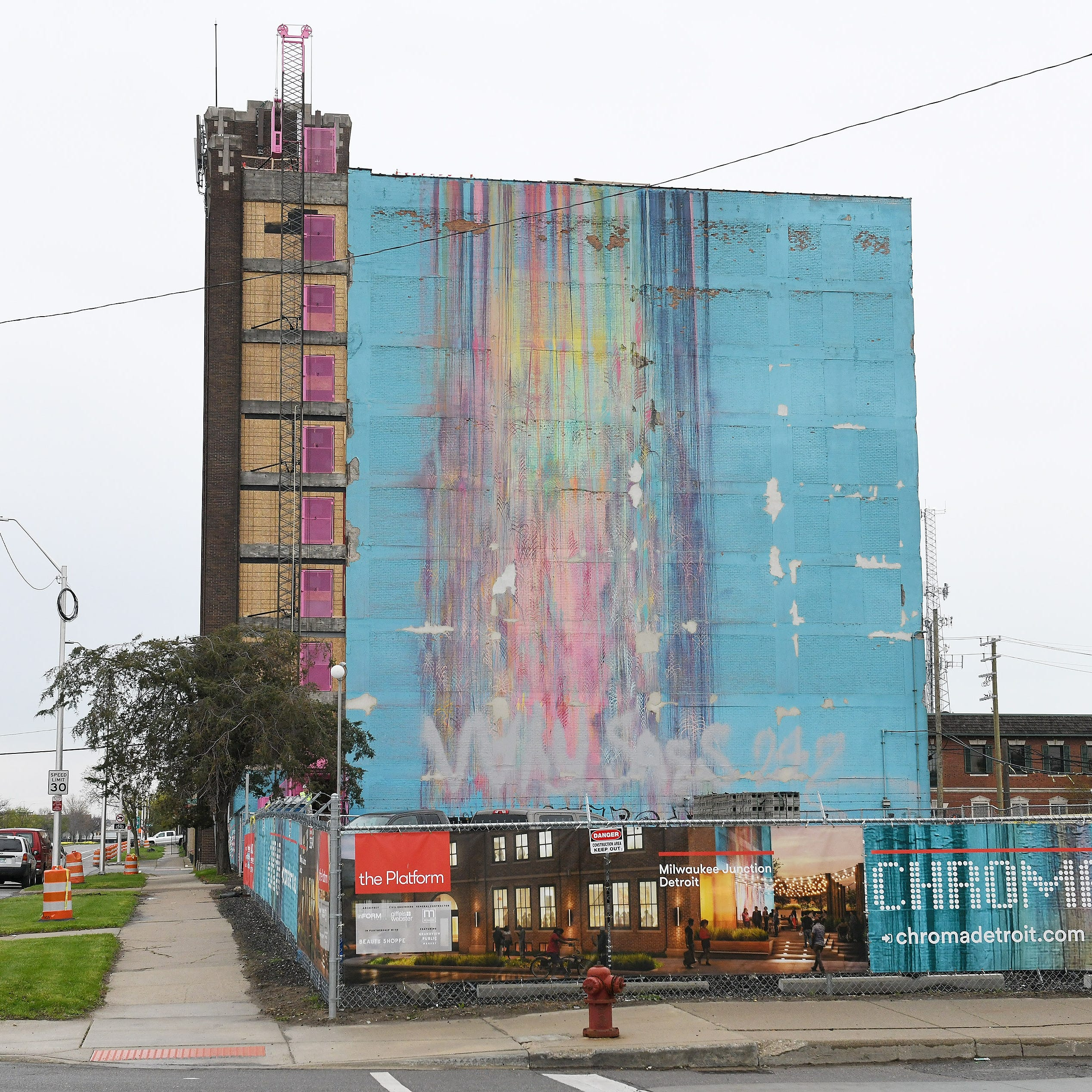 Developers offer peek behind rainbow mural in Detroit