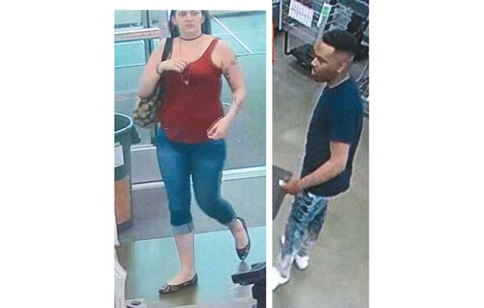 Evansville Police are seeking information on two suspects alleged to have passed counterfeit bills at a number of businesses, shown here in captures from surveillance footage.