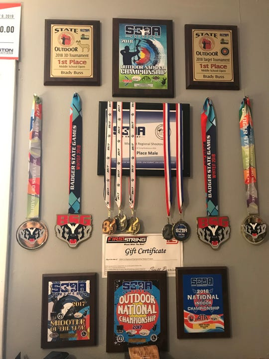 Buss' room is filled with various awards. Buss has been competing since the sixth grade.