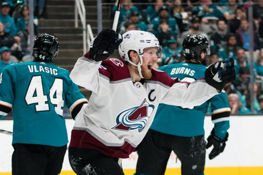 Gabe Landeskog of the Colorado Avalanche celebrates a goal Sunday night in a 4-3 win over the the host San Jose Sharks that tied their best-of-7 second-round NHL playoff series at 1-1. Games 3 and 4 are in Denver, at 8 p.m. Tuesday and 8 p.m. Thursday.