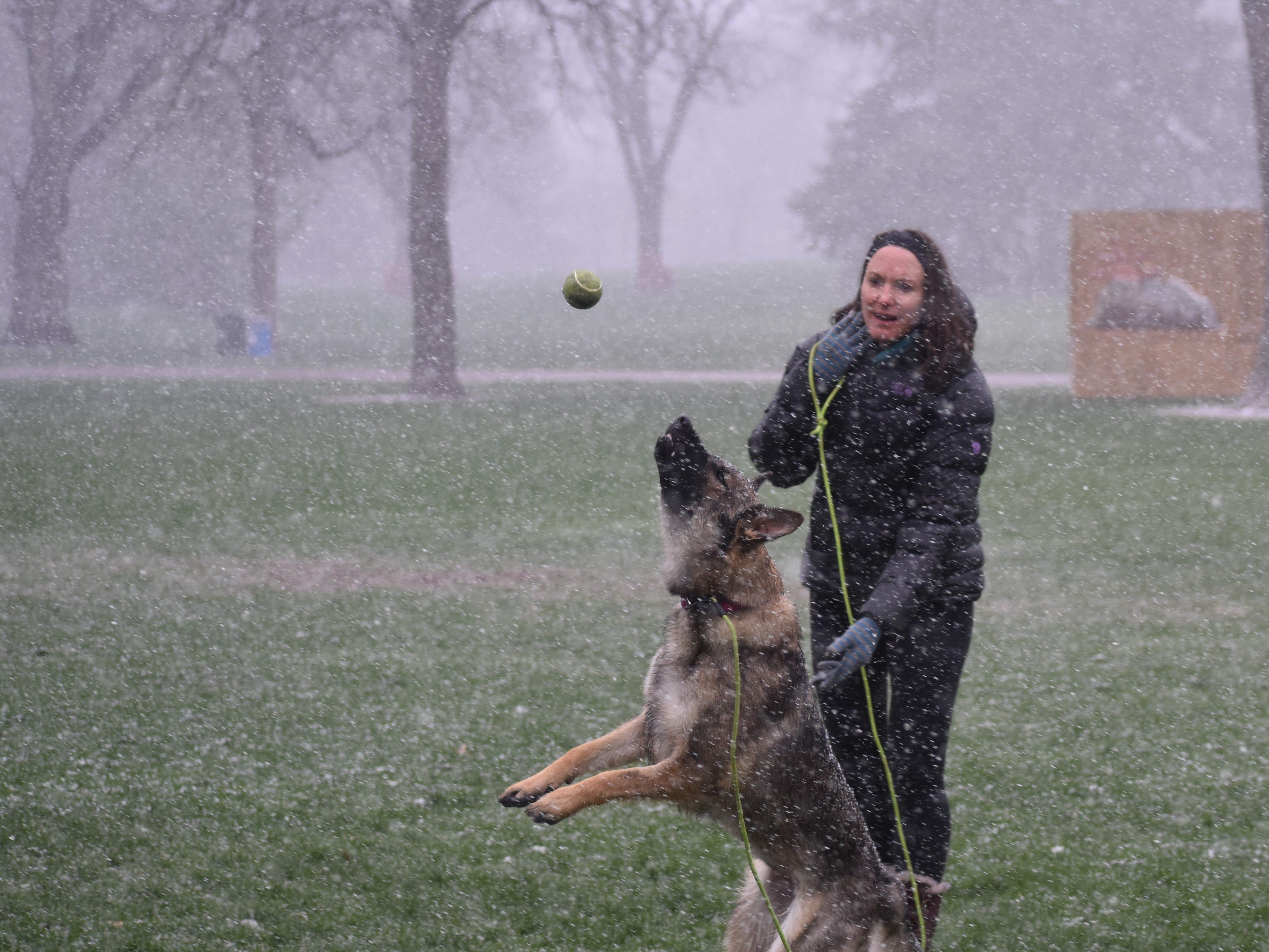 Elizabeth Harrison of Fort Collins and German shepherd Margot enjoy the snow at City Park on Monday.