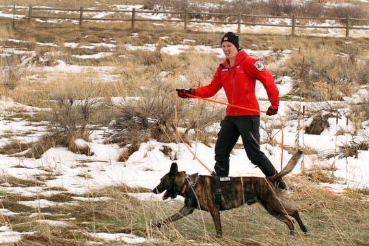 Larimer County Search and Rescue team member Mary Babbitt trains her dog, Jupiter, on trailing techniques during a training event held at Lory State Park on Saturday, April 13, 2019.