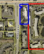 Site of proposed 7-Eleven gas station is right up against an over-55 condo community.