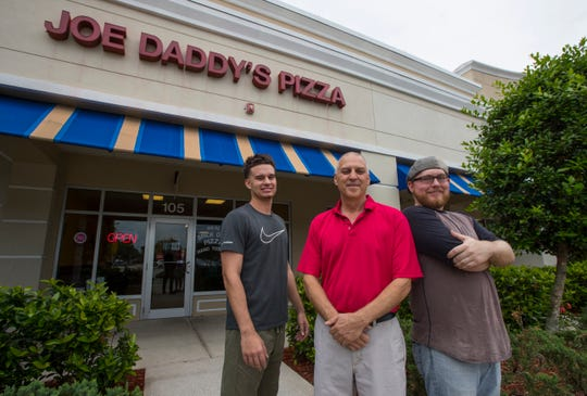 From right, co-owners Robert Calderone and Joe Calderone along with employee Michael Prell from Joe Daddy's Pizza in Cape Coral.