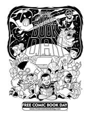 A promotional coloring book page for the 2019 Free Comic Book Day