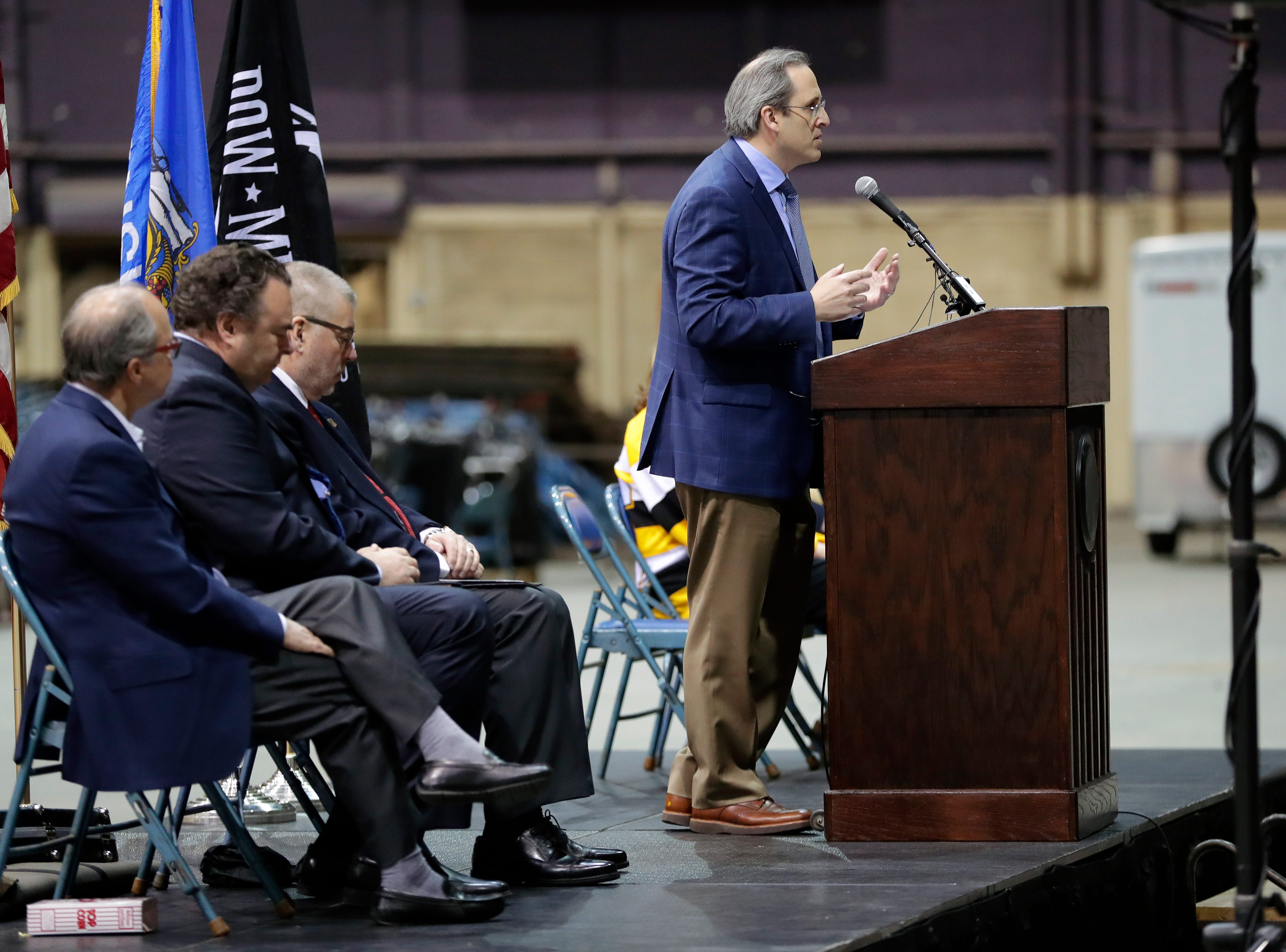Brown County Executive Troy Streckenbach speaks during a farewell ceremony held April 29, 2019 inside the Brown County Veterans Memorial Arena before demolition of the building begins.