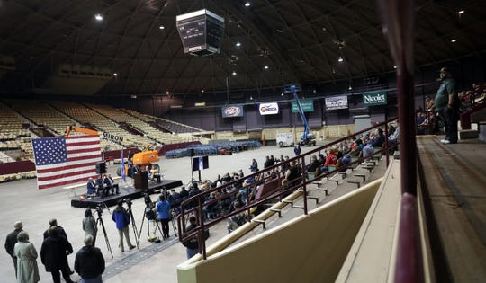 About 100 people attended a farewell ceremony Monday for the Brown County Veterans Memorial Arena, which will be torn down to make room for a new expo center.