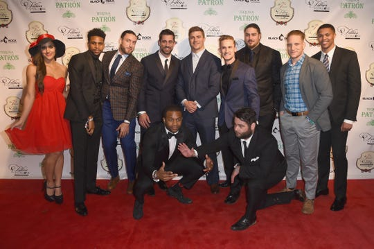 aaron Rodgers poses with Green Bay Packers players at the 7th Annual Fillies & Stallions Kentucky Derby Party hosted by Black Rock Thoroughbreds and sponsored by Patron on May 5, 2017, in Louisville, Kentucky.