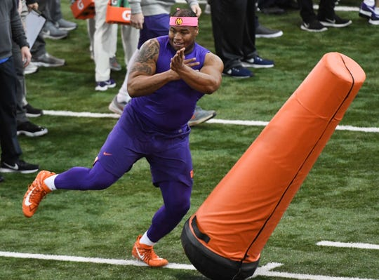 Defensive lineman Dexter Lawrence runs through a drill during Clemson Pro Day at the Poe Indoor Facility in Clemson, S.C. Thursday, March 14, 2019.