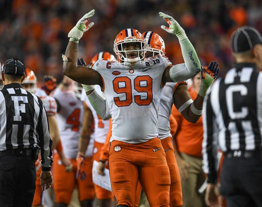 Clemson defensive lineman Clelin Ferrell (99) during the 2nd half of the College Football National Championship at Levi's Stadium in Santa Clara, CA Monday, January 7, 2019.
