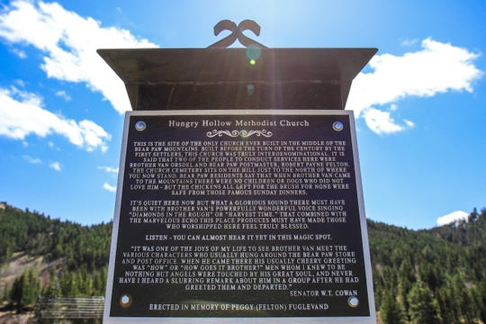The scale model of the Hungry Hollow Methodist Church is along the back roads of Montana in Hungry Hollow.