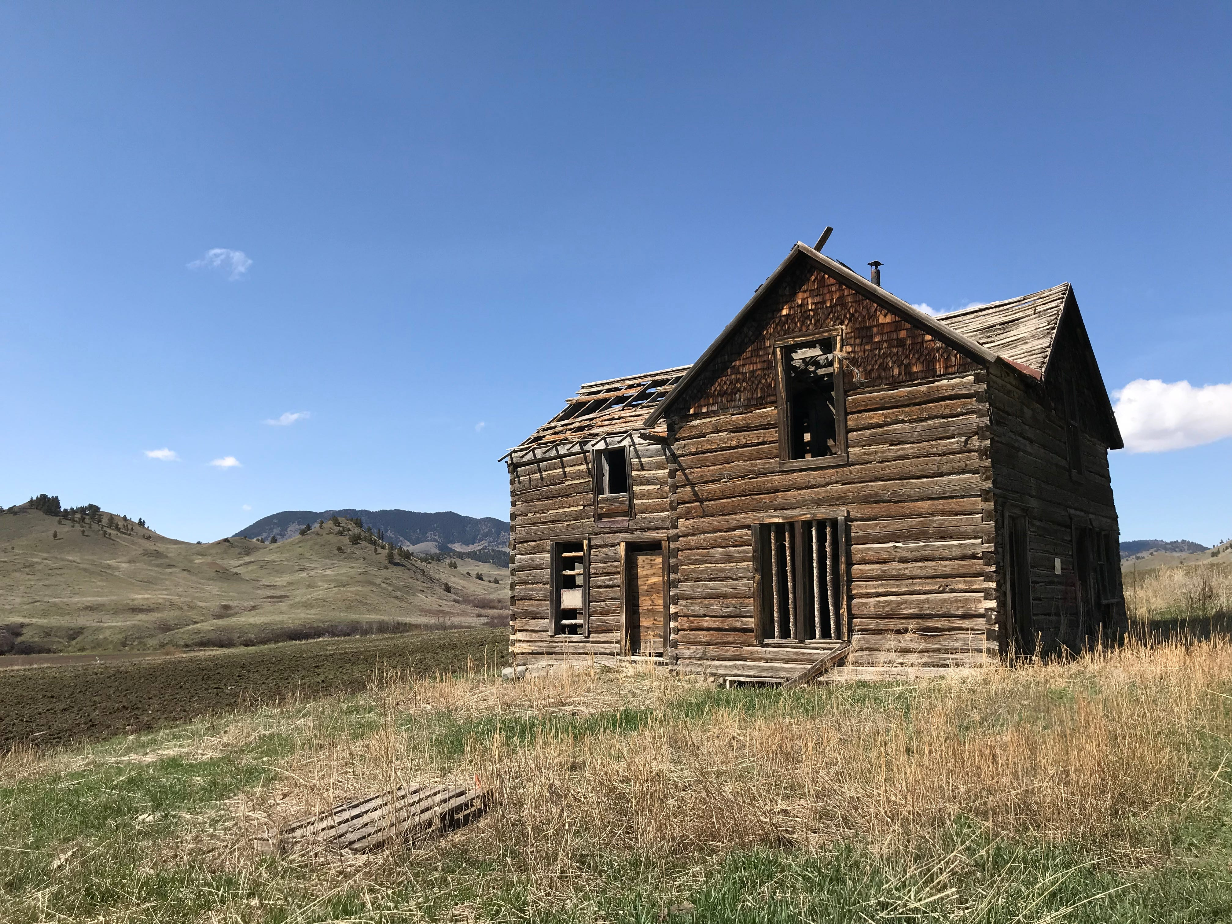 An old log building in the Bear Paw Mountains near Warrick
