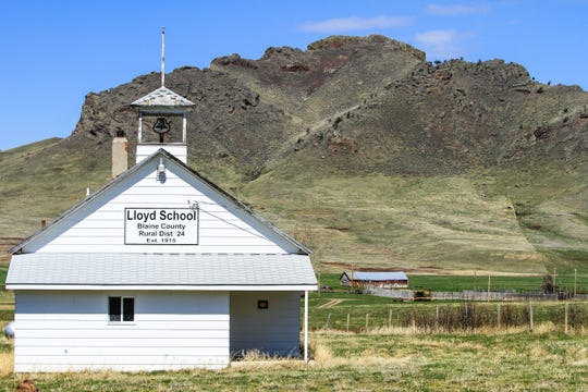 The Lloyd School was established in 1915 and seemingly marks the last building along the small town's main road.