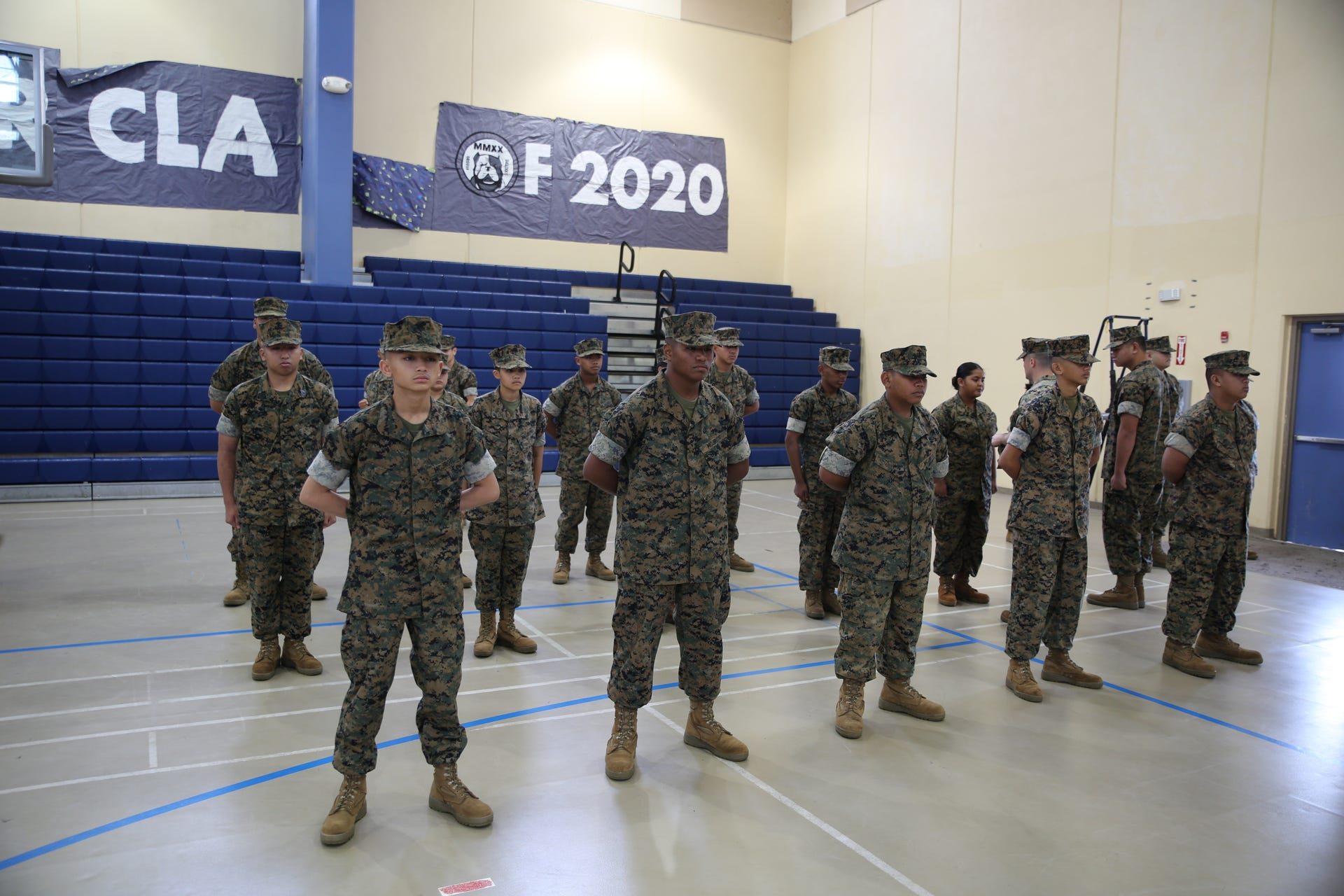 Marines from Marine Corps Activity Guam conduct a uniform