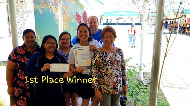 First prize winner, for Mes Chamoru Manhihita Marianas Decorating contest goes to Ms. Belmarie Toves, 3rd Grade School Aide and her Maria Ulloa teachers on April 12, 2019.  From L-R in front Laurence Lavarias, Rosan Fernando, Maricris Aquino, Belmarie Toves, and Belinda Amparo. Back - James Schmidt.