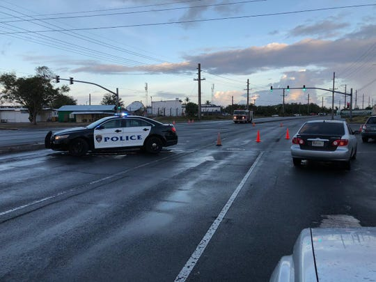 The intersection of Route 1 and Route 27 is closed due to a down utility line.