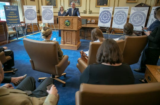 A news conference held by Governor Eric Holcomb outlining his government's record in recent years and addressing questions about the future, Indiana Statehouse, Indianapolis, Monday, April 29, 2019.