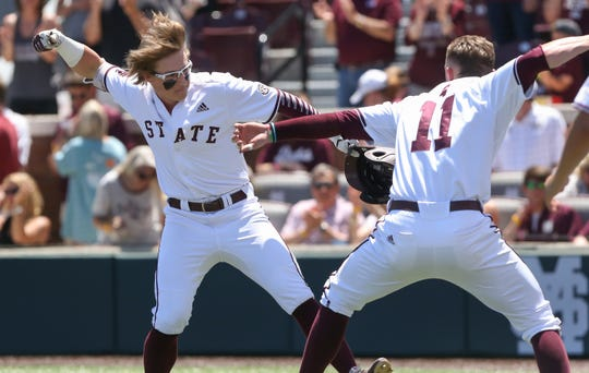 Mississippi State's Rowdey Jordan (4) celebrates with Mississippi State's Jordan Westburg (11) after Jordan hit a home run. Mississippi State played Georgia in an SEC baseball game on Saturday, April 27, 2019 at Dudy Noble Field. Photo by Keith Warren