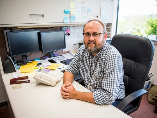 Kevin Clark, food program manager with the Knox County Health Department, photographed in his office on Monday, April 29, 2019.