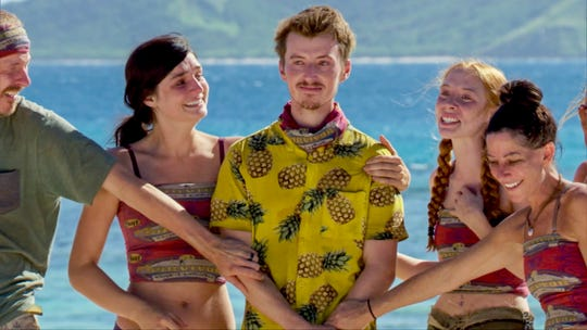 """From left, Ron Clark, Lauren O'Connell, Gavin Whitson, Victoria Baamonde and Julie Rosenberg see their family members on """"Survivor: Edge of Extinction."""""""