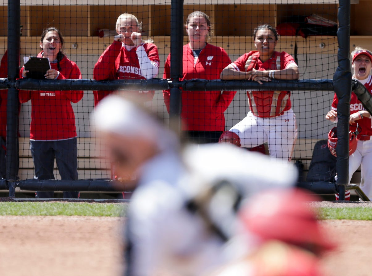 The Wisconsin dugout reacts to a play at third during the seventh inning of a NCAA softball game, Sunday, April 28, 2019 at Bittinger Stadium in West Lafayette. Wisconsin won, 4-1.