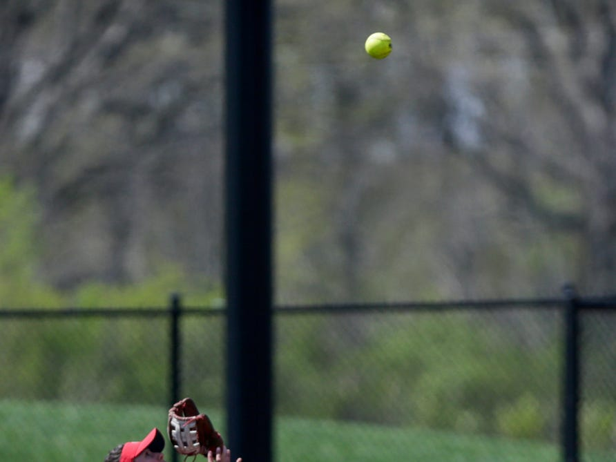 Wisconsin second baseman Kelly Welsh (4) waits for the fly-out during the first inning of a NCAA softball game, Sunday, April 28, 2019 at Bittinger Stadium in West Lafayette. Wisconsin won, 4-1.