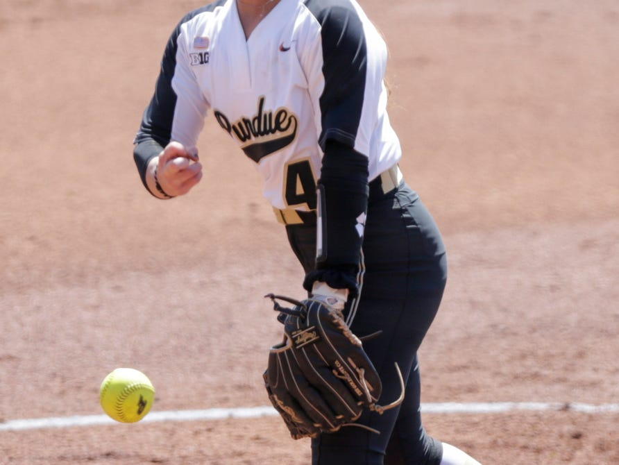 Purdue pitcher Maddie Damon (4) throws during the second inning of a NCAA softball game, Sunday, April 28, 2019 at Bittinger Stadium in West Lafayette. Wisconsin won, 4-1.