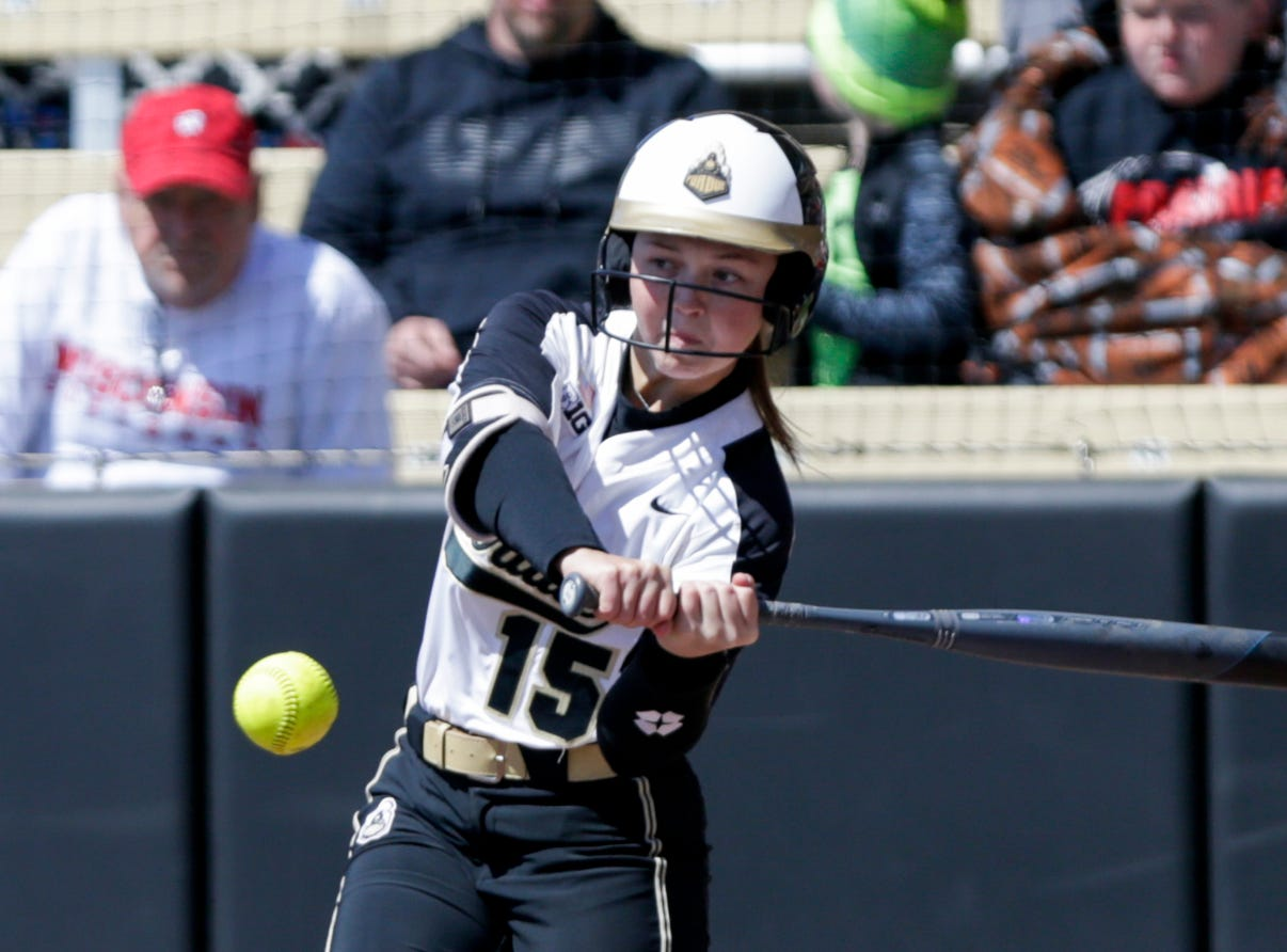 Purdue short stop Rachel Becker (15) swings during the first inning of a NCAA softball game, Sunday, April 28, 2019 at Bittinger Stadium in West Lafayette. Wisconsin won, 4-1.