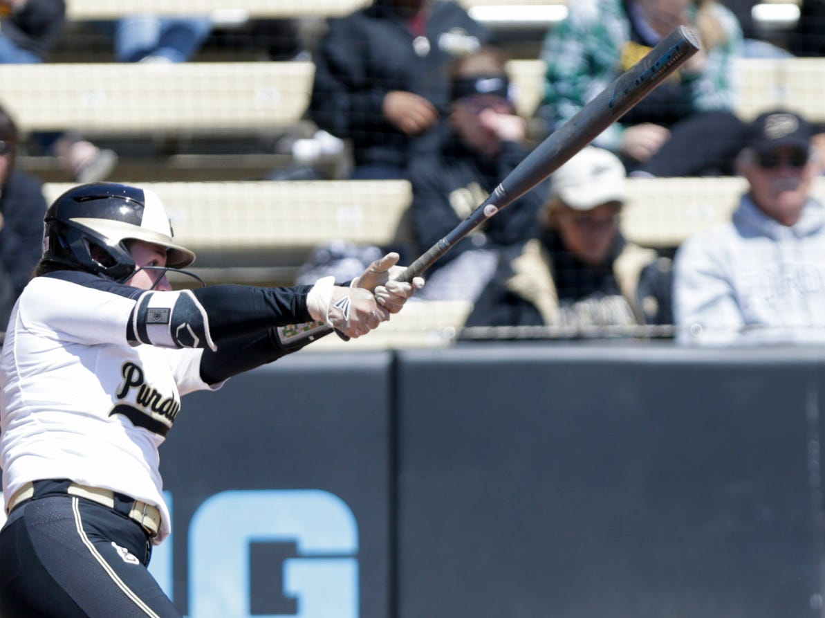 Purdue center fielder Kasey Wilhoit (7) swings during the fourth inning of a NCAA softball game, Sunday, April 28, 2019 at Bittinger Stadium in West Lafayette. Wisconsin won, 4-1.