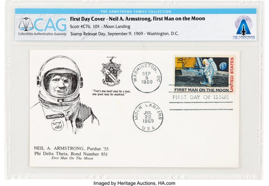 "This first day cover of the release of the ""First Man on the Moon"" stamp in September 1969 references Neil Armstrong's ties to Purdue and his fraternity, Phi Delta Theta. It is among Purdue-related items from the Armstrong Family Collection, now up for auction."