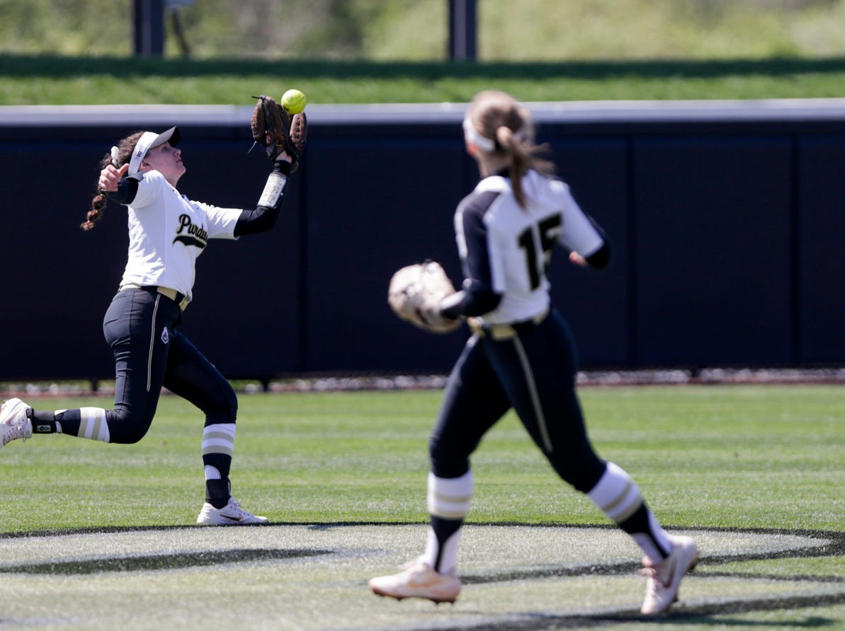 Purdue left fielder Kasey Wilhoit (7) with the fly-out during the first inning of a NCAA softball game, Sunday, April 28, 2019 at Bittinger Stadium in West Lafayette. Wisconsin won, 4-1.