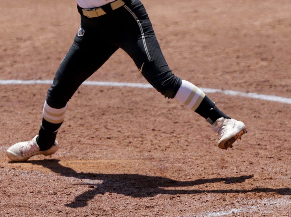 Purdue pitcher Maddie Damon (4) throws during the sixth inning of a NCAA softball game, Sunday, April 28, 2019 at Bittinger Stadium in West Lafayette. Wisconsin won, 4-1.