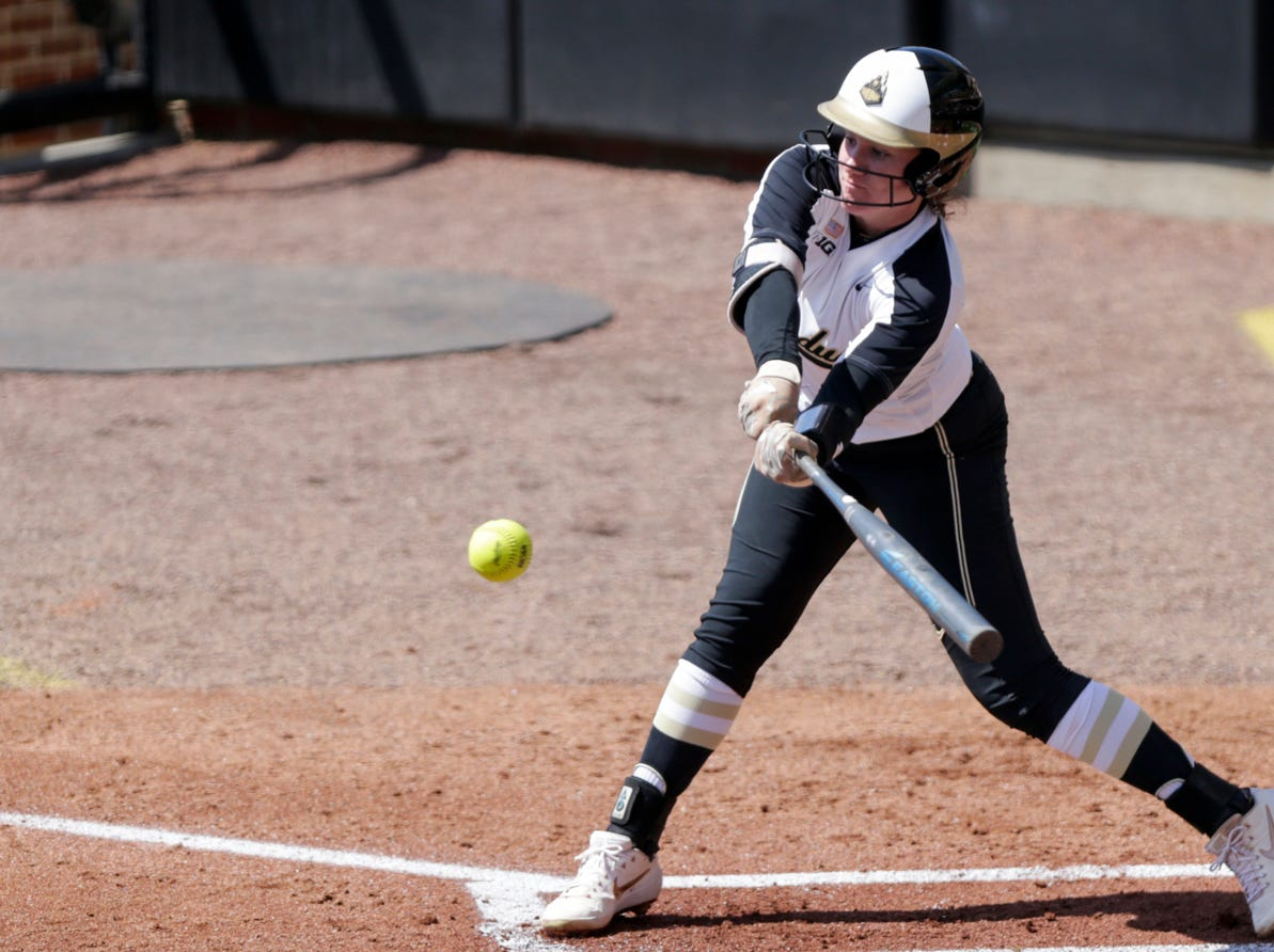 Purdue center fielder Kasey Wilhoit (7) swings during the first inning of a NCAA softball game, Sunday, April 28, 2019 at Bittinger Stadium in West Lafayette. Wisconsin won, 4-1.