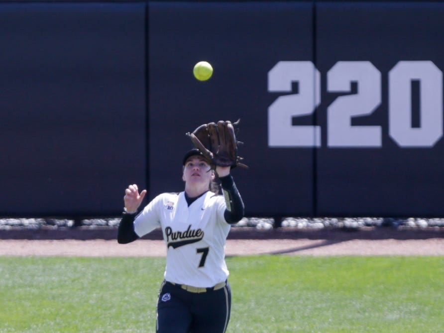 Purdue center fielder Kasey Wilhoit (7) with the fly-out during the third inning of a NCAA softball game, Sunday, April 28, 2019 at Bittinger Stadium in West Lafayette. Wisconsin won, 4-1.