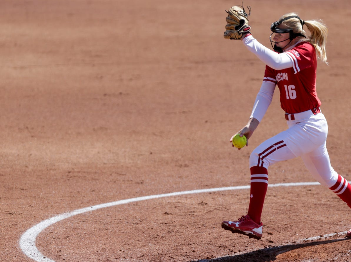 Wisconsin pitcher Kaitlyn Menz (16) throws during the second inning of a NCAA softball game, Sunday, April 28, 2019 at Bittinger Stadium in West Lafayette. Wisconsin won, 4-1.