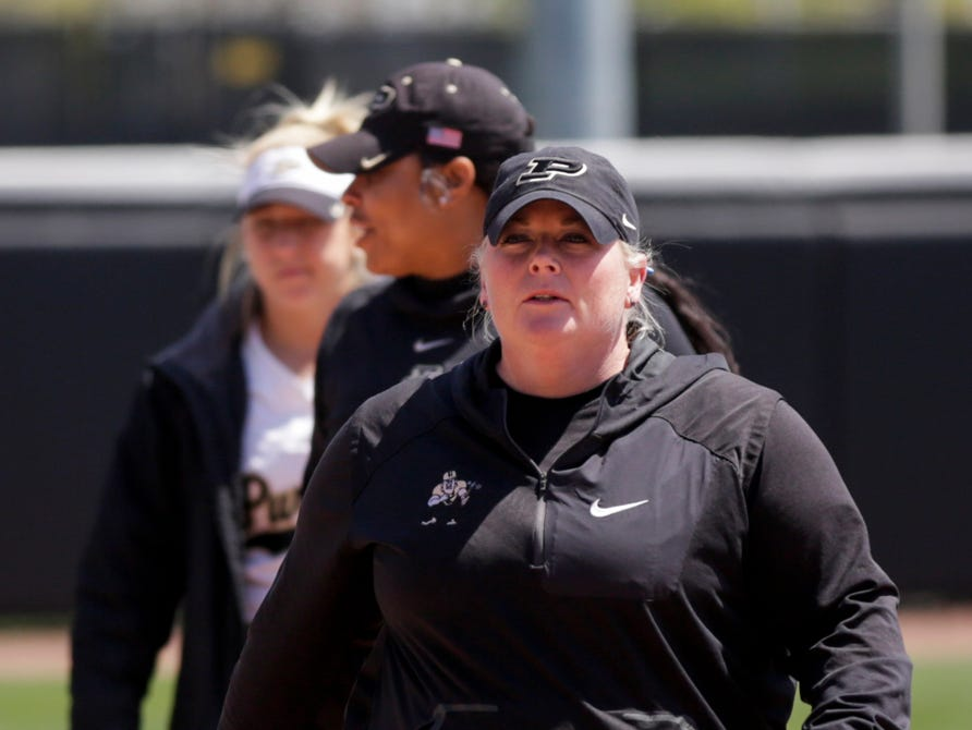 Purdue head coach Boo De Oliveira walks off the field after loosing to Wisconsin, 4-1, Sunday, April 28, 2019 at Bittinger Stadium in West Lafayette.