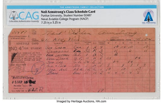 A class schedule Neil Armstrong filled out for his first semester at Purdue in 1947 is among Purdue-related items from the Armstrong Family Collection, now up for auction.
