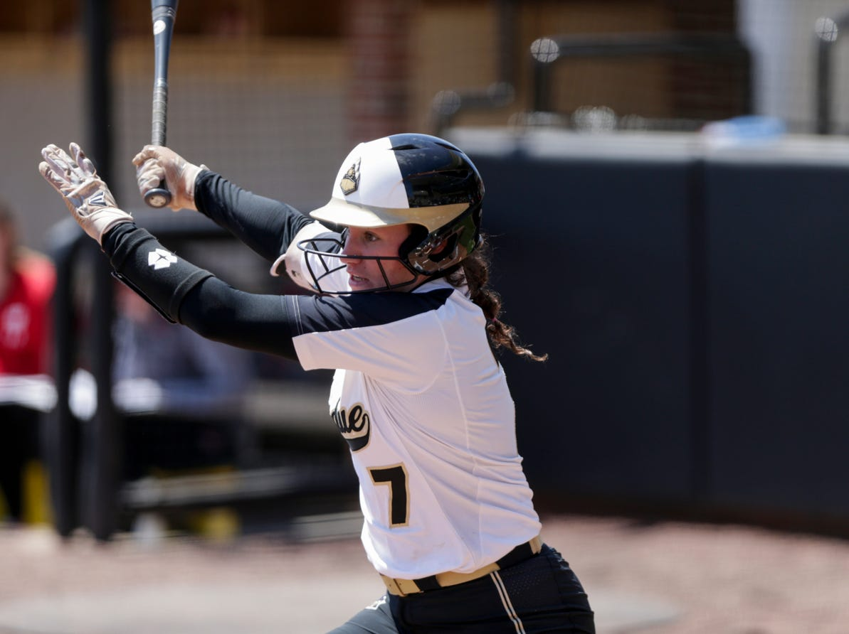 Purdue center fielder Kasey Wilhoit (7) connects during the sixth inning of a NCAA softball game, Sunday, April 28, 2019 at Bittinger Stadium in West Lafayette. Wisconsin won, 4-1.
